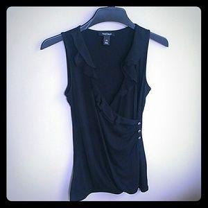 WHBM sleeveless black ruffle front top. Size XS